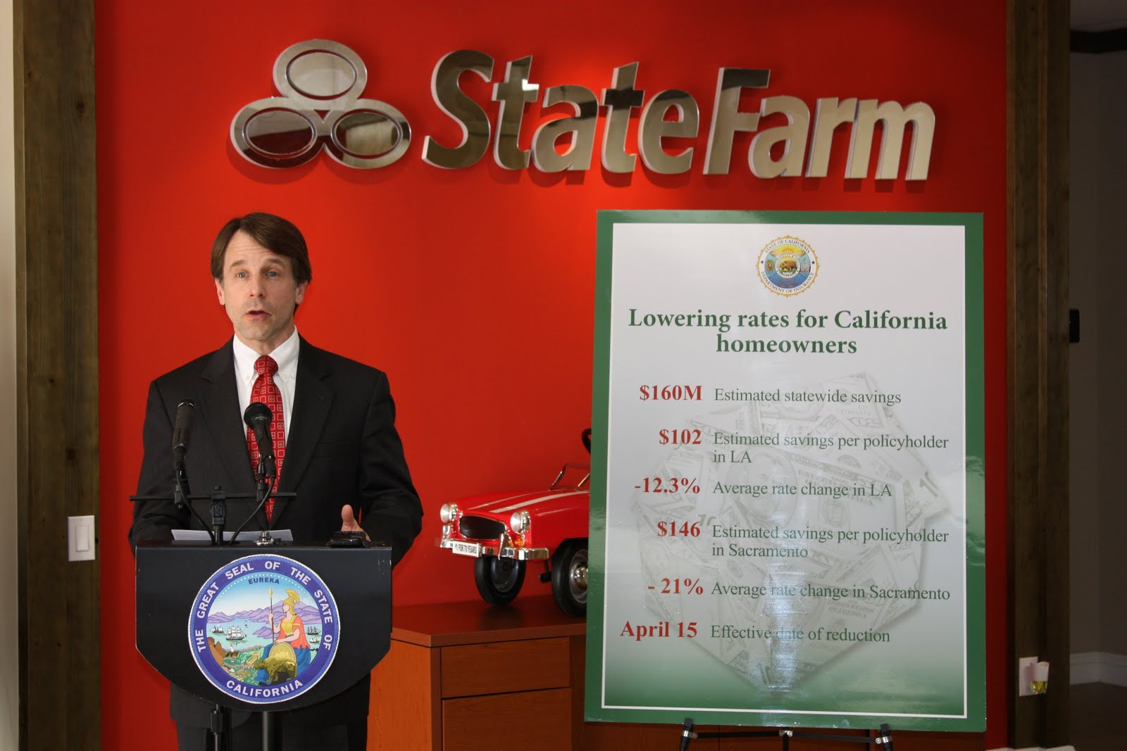 Commissioner Jones in LA announcing State Farm rate reduction for homeowners